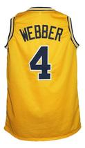Chris Webber #4 Custom College Basketball Jersey New Sewn Yellow Any Size image 5