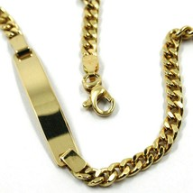 """SOLID 18K YELLOW GOLD BRACELET GOURMETTE LINK 3 MM ENGRAVING PLATE, 20.5cm 8.1"""" image 2"""
