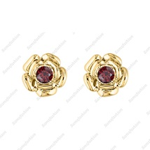 Rose Flower Earring Red Garnet 14k Yellow gold Over. 925 Sterling Silver... - $39.99