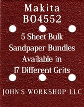 Makita BO4552 - 1/4 Sheet - 17 Grits - No-Slip - 5 Sandpaper Bulk Bundles - $7.14