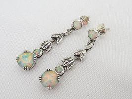 Vintage Sterling Silver White Opal Leaf Earrings - $65.00