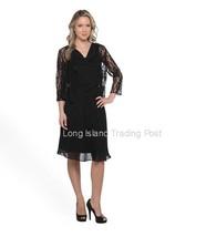 Stunning Black Chiffon & Lace Jacket Dress Mother Guest Wedding Dinner  16 - $39.95