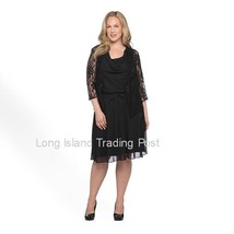 Stunning Black Chiffon & Lace Jacket Dress Mother Guest Wedding Dinner 20W - $39.95