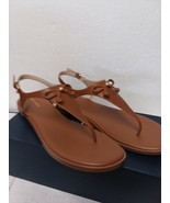 Cole Haan Women's FINDRA Leather Thong Sandal II Flat - Tan 10 B - $67.05