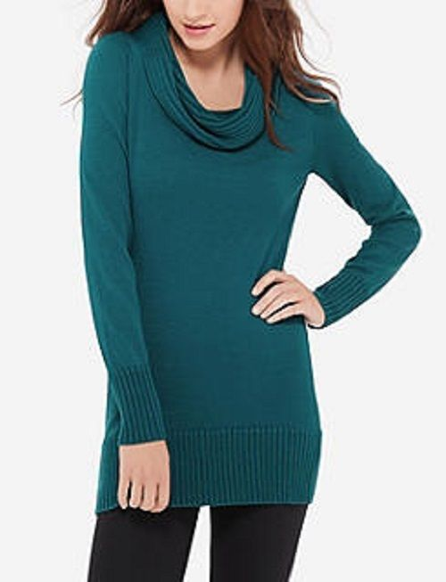 The Limited Cowl Neck Tunic Sweater, Teal, size L, NWT