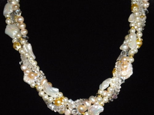 Primary image for Designer One of a Kind Swarovski Crystal and Freshwater Blister Baroque Pearl Ne