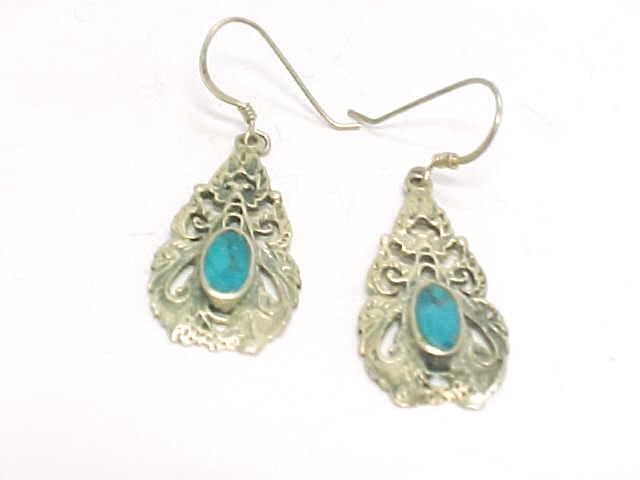 TURQUOISE Dangle EARRINGS with elegant Open Work in Sterling Silver-1 1/8 inches