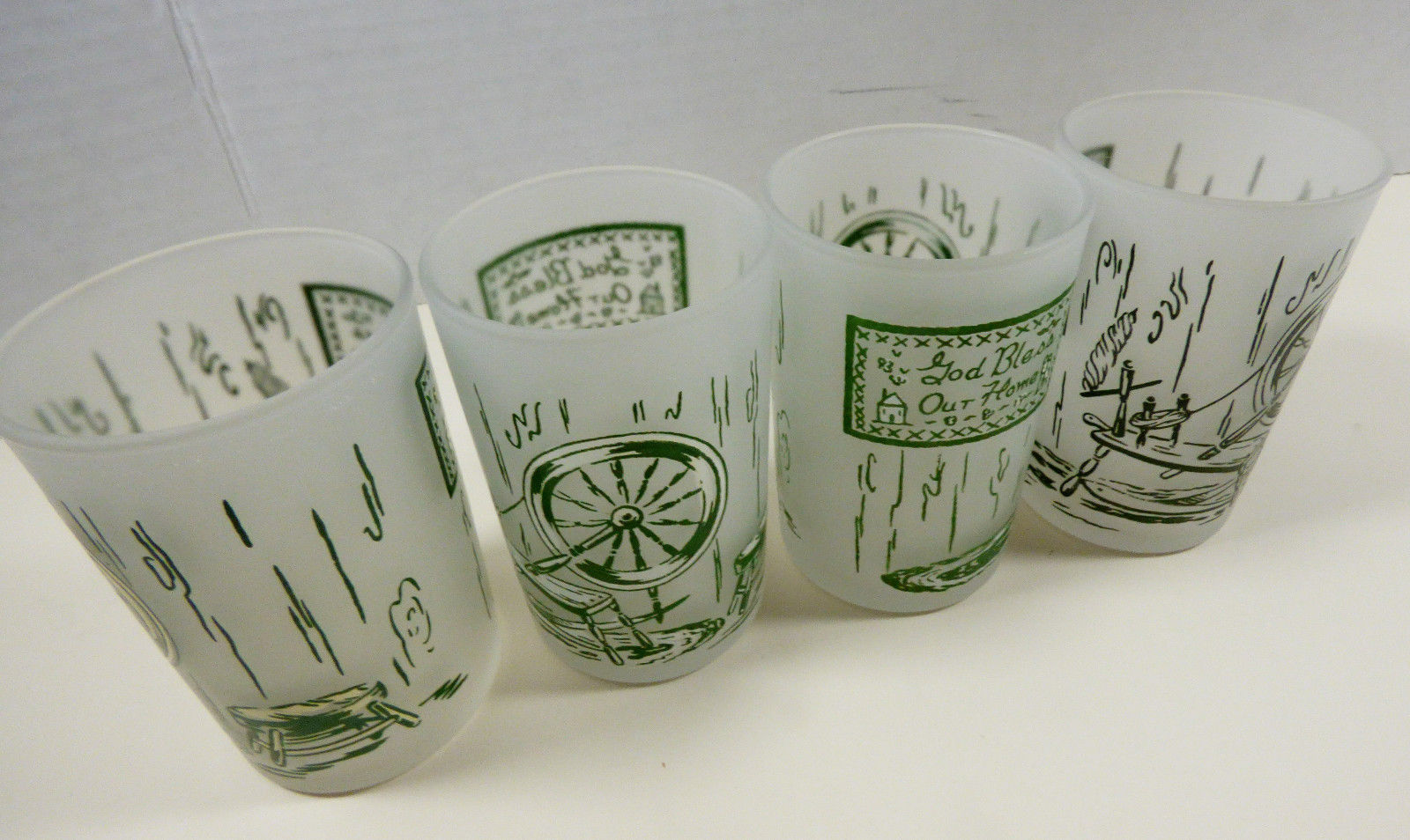 VTG Set of 4 Royal China Colonial Homestead Juice 6 oz Frosted Glass - $74.25