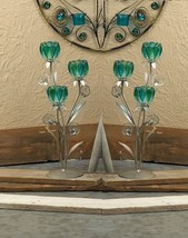 """2 turquoise teal blue green peacock 18"""" candelabra candle holder wedding... - $43.60"""