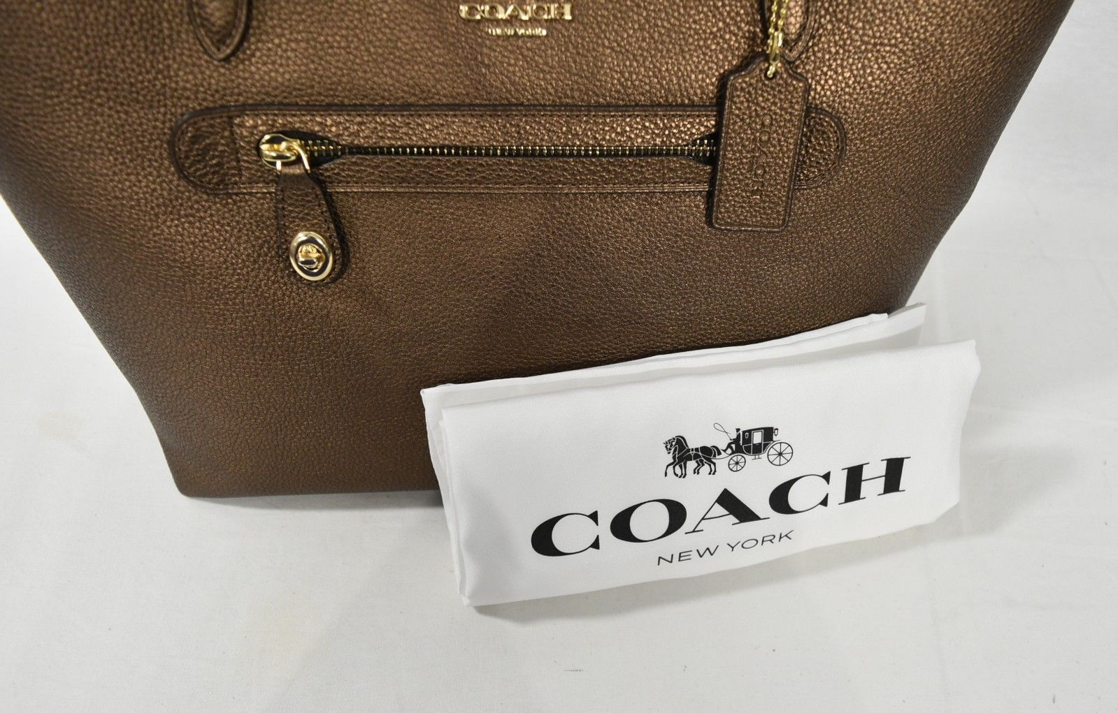787fbd77605 NWT Coach 23592 Mettalic Leather Taylor Tote in Bronze. Handbag Shoulder Bag