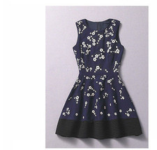 New Celebrity Designer Runway Navy White Embroidery Floral Fit Flare Dress Party - $29.99