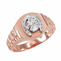 14k Rose Gold Lucky Horseshoe Men's Watchband Ring Size 6-16 (14.5) - $349.99