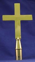 "Plain Church Cross - 9.25"" Brass Pole Ornament - $62.28"