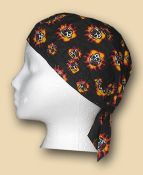 Tossed skulls and flames headwrap 9130