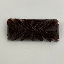 Antique Early Plastic Carved Brooch Pin Art Deco Root Beer Brown Tone C ... - $44.50