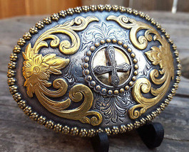 """NOCONA Cross & Floral Western Buckle-Fits 1.5"""" Belt-VTG-Silver/Gold Tone... - $33.65"""