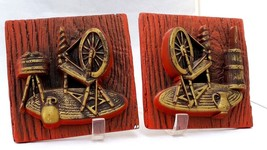 3D ceramic plucks red with brass color 1975 wall decor 2 various spinnin... - $9.94