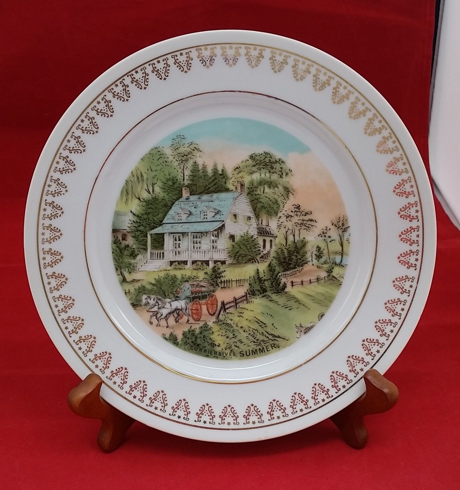 "Currier and Ives Summer vintage white porcelain plate with gold decor 8"" Japan"