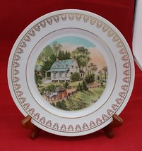 "Currier and Ives Summer vintage white porcelain plate with gold decor 8""... - $7.24"