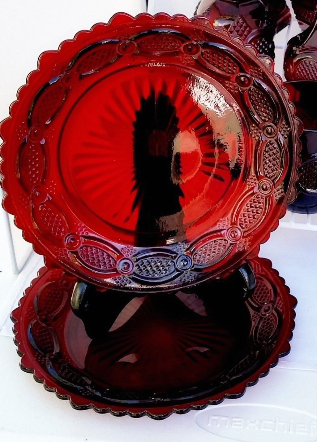 "AVON 1876 Cape Cod Collection Set of 2 Ruby Red 7¼"" plates for Salad or dessert"