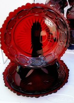 "AVON 1876 Cape Cod Collection Set of 2 Ruby Red 7¼"" plates for Salad or ... - $10.99"