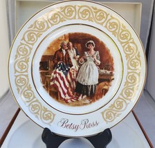 "Betsy Ross Patriot Flagmaker, 8 ½"" 1973 Collectors or seving plate  Avon in box - $7.99"