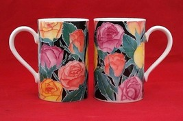 Roses stoneware 2 Mugs set by Michele Aubourg for Dunoon Scotland - $18.69