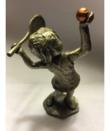 Hudson Pewter Girl Playing Tennis Racket Ball - $13.12