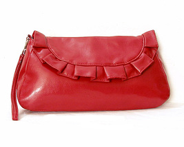 Red Ruffle Clutch with Wrist Strap Clean Unused Vegan Bag - $19.21 CAD