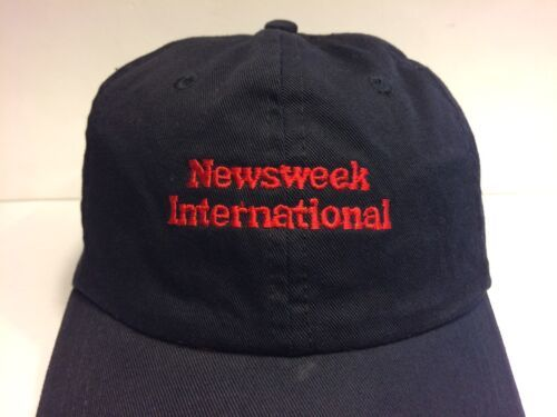 Newsweek International Cap Hat Adult Black Adjustable Leather Strap 100% Cotton