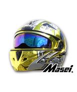 Masei 803 Skull Gold Chrome Flip Up Motorcycle Helmet - $499.00