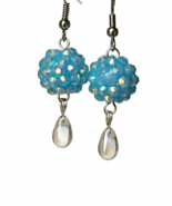 Light Blue Rhinestone Teardrop Dangling Earrings - $12.90+