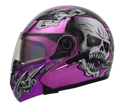 Masei 803 Skull Purple Chrome Flip Up Motorcycle Helmet - $499.00
