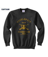 CAPTAIN Old Hufflepuff Quidditch team Unisex Crewneck Sweatshirt Black - $33.00+