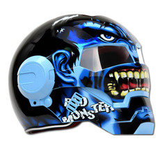 Masei 610 Blue Monster Chopper Motorcycle Helmet image 2