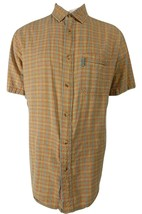 Woolrich Mens Button Front Seersucker Camp Shirt Blue Orange Yellow Plaid L - $24.95