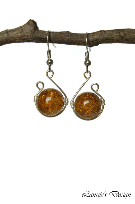 Light Brown Wire Wrapped Dangling Earrings
