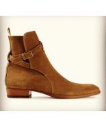 Handmade jodhpurs ankle boot Men Tan ankle high suede leather boot Mens ... - $179.99