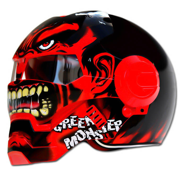 Masei 610 Red Monster Chopper Motorcycle Helmet image 2