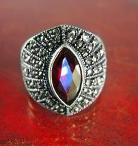 Garnet & Sterling Vintage Ring Deco Silver WIDE Marcasite January Decora... - $125.00