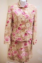 Newport News JRT 6 Skirt Suit Pink Beige Floral Lined 2 pc Jacket Linen Cotton - $24.47