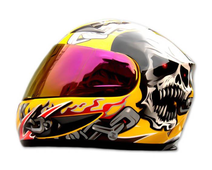 Masei 816 Yellow Skull Motorcycle Helmet