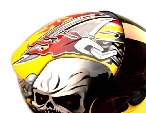 Masei 816 Yellow Skull Motorcycle Helmet image 8