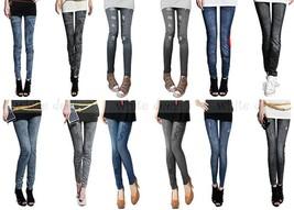 Juniors' Skinny Black Blue Jean Denim Leggings Stretchy Jeggings Pants - $7.95