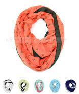 Anchor Hook Print Block Circle Loop Wrap Infinity Scarf Casual Fashion Cute - $6.45