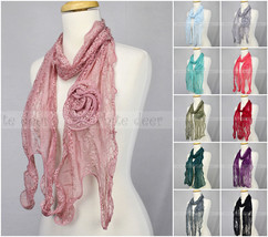 Lace Scarf Wave Curly Fringe Embroidery Sewed On Flower Tassel Sheer Solid Color - $9.45