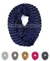 Stripped Knit Infinity Winter Scarf Elastic Warm Black White String Circle Loop - $6.95