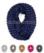 Stripped Knit Infinity Winter Scarf Elastic Warm Black White String Circ... - $6.95