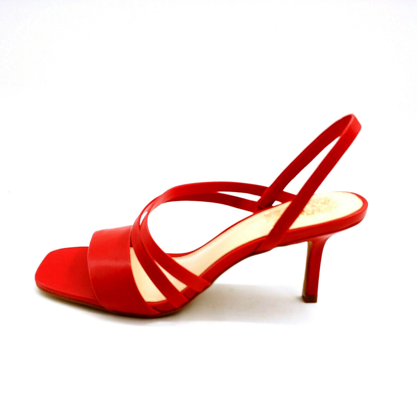 Primary image for Vince Camuto Womans Savesha Leather Strappy Heeled Sandals Razz Red 7.5M
