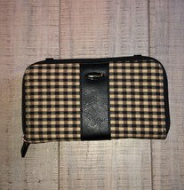 Longaberger Homestead Khaki And Black Check Wallet Clutch - $16.99
